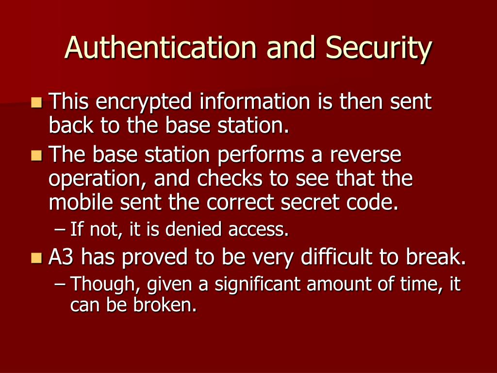 Authentication and Security