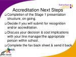 accreditation next steps