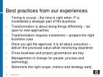 best practices from our experiences