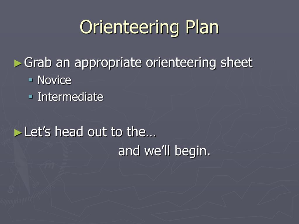 Orienteering Plan