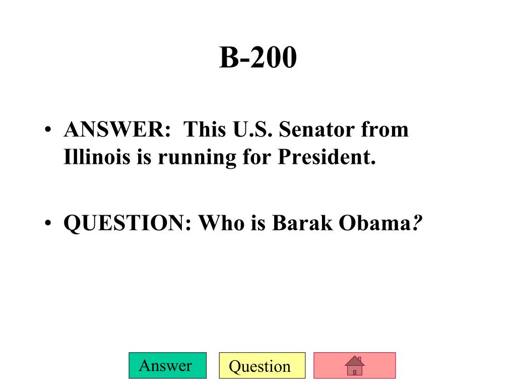 ANSWER:  This U.S. Senator from Illinois is running for President.
