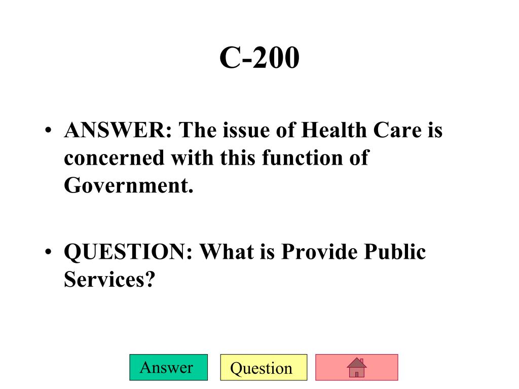 ANSWER: The issue of Health Care is concerned with this function of Government.