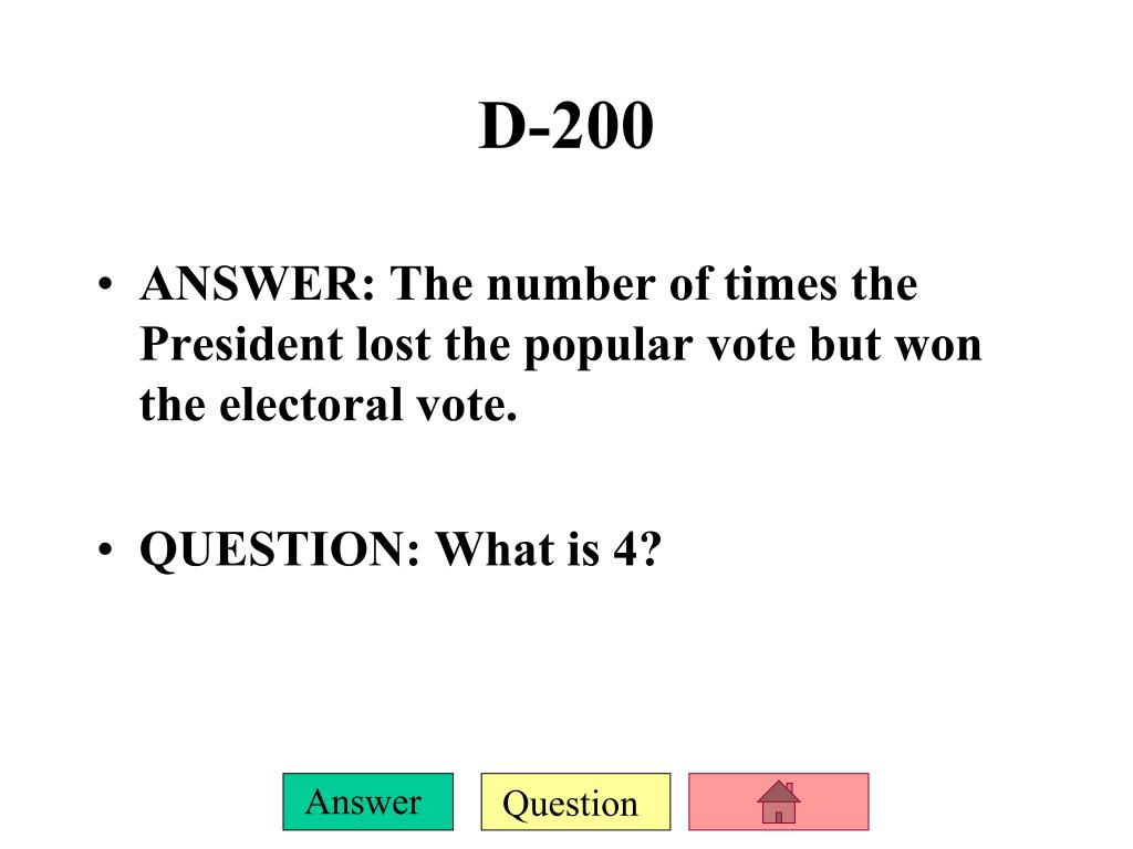 ANSWER: The number of times the President lost the popular vote but won the electoral vote.