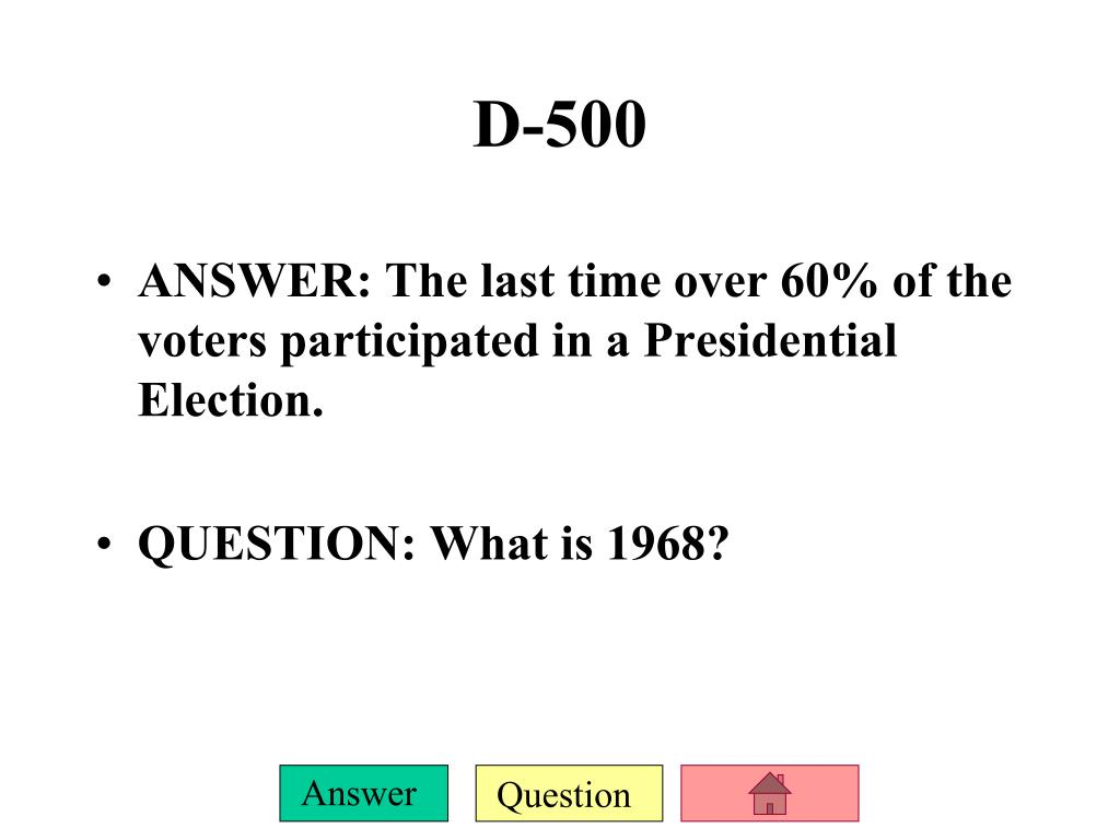 ANSWER: The last time over 60% of the voters participated in a Presidential Election.