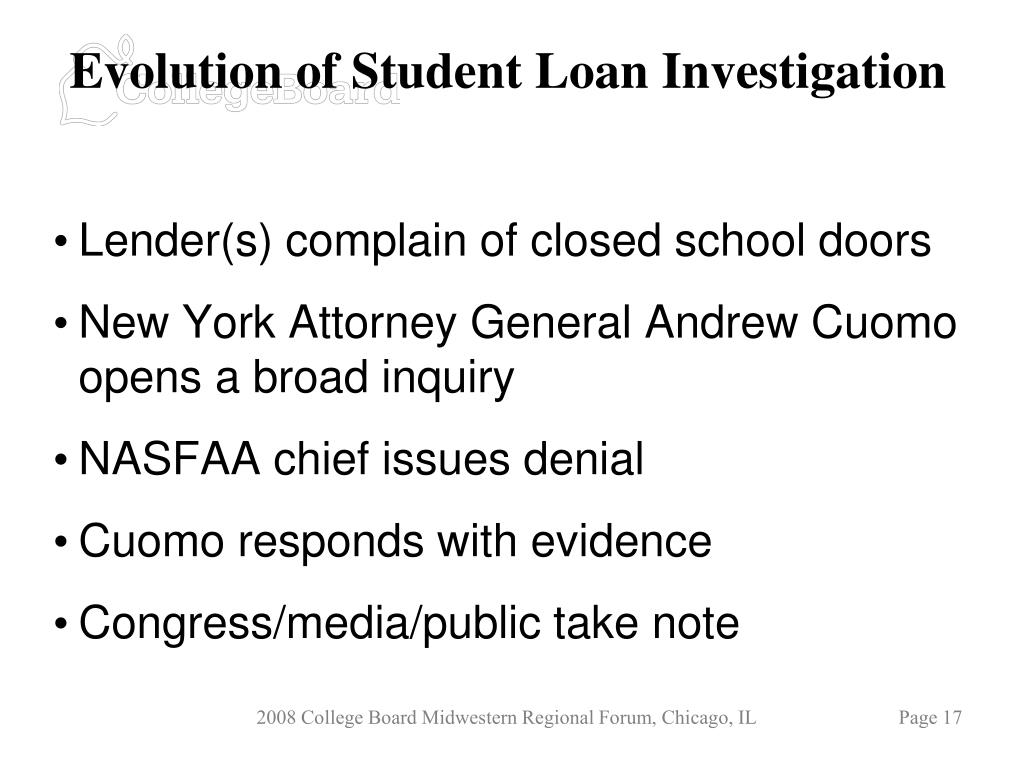 Evolution of Student Loan Investigation
