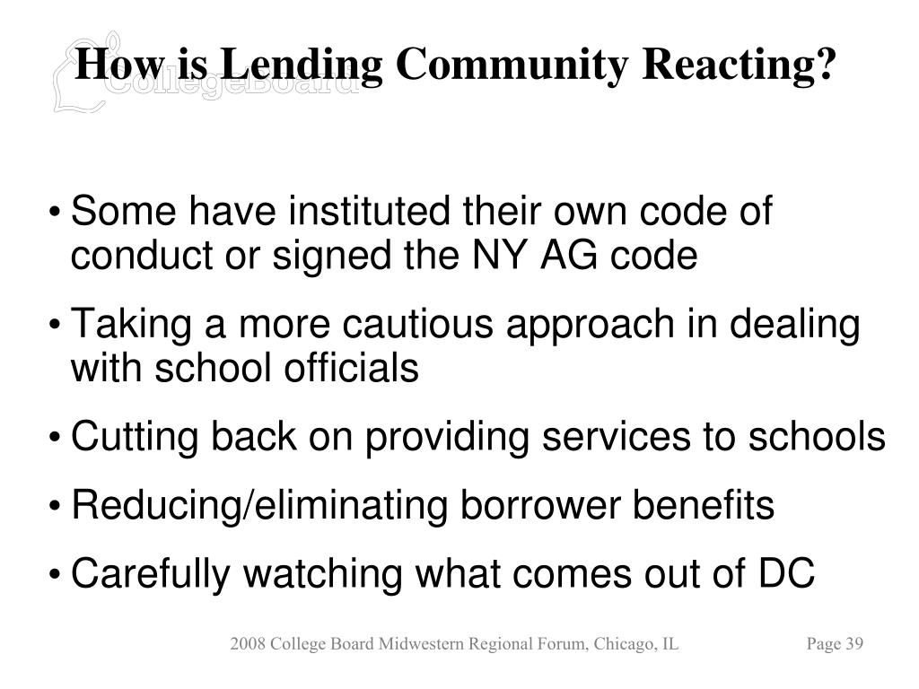 How is Lending Community Reacting?