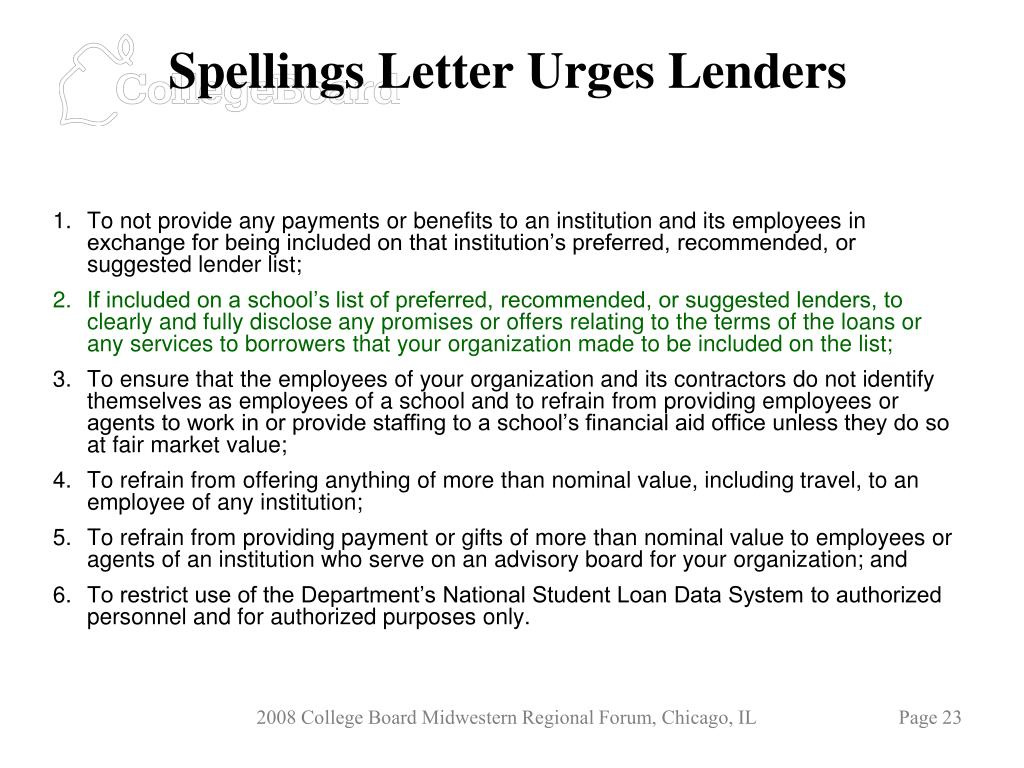 Spellings Letter Urges Lenders