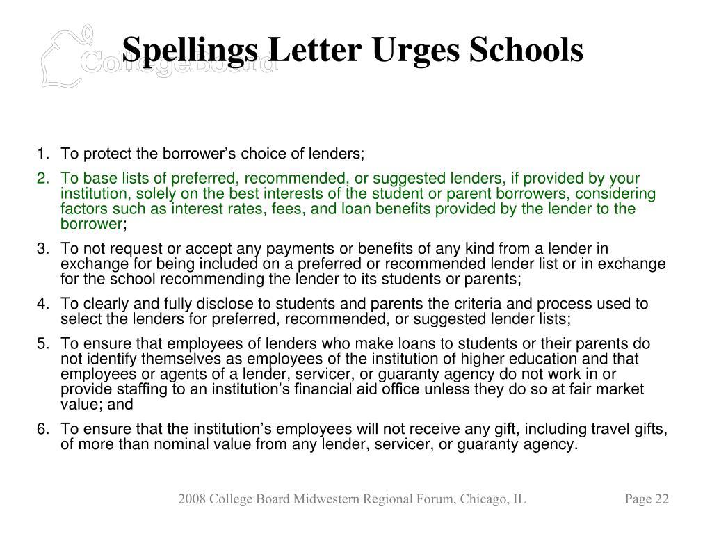 Spellings Letter Urges Schools