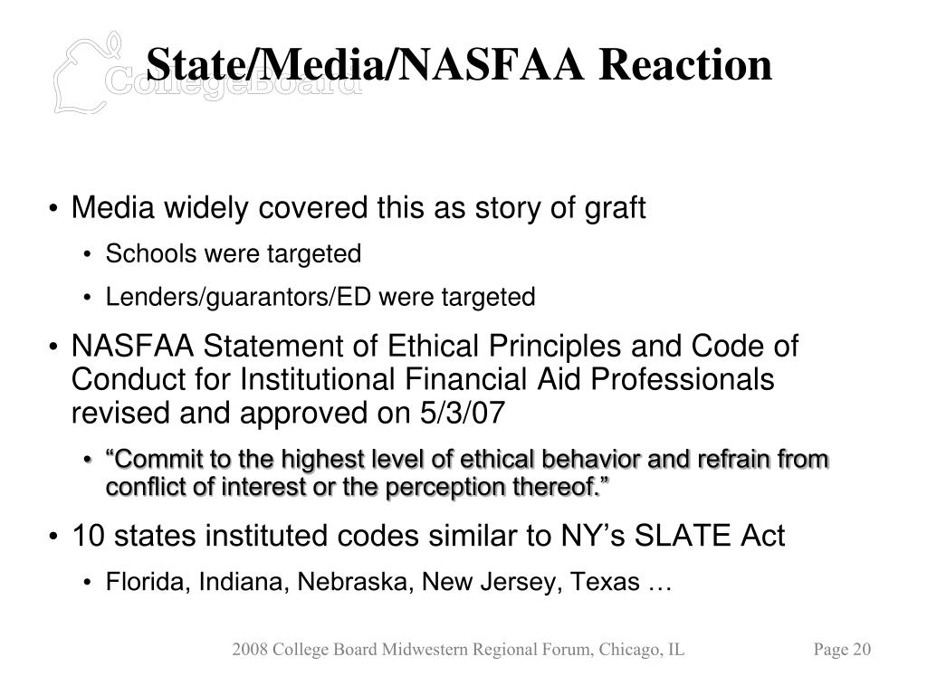 State/Media/NASFAA Reaction