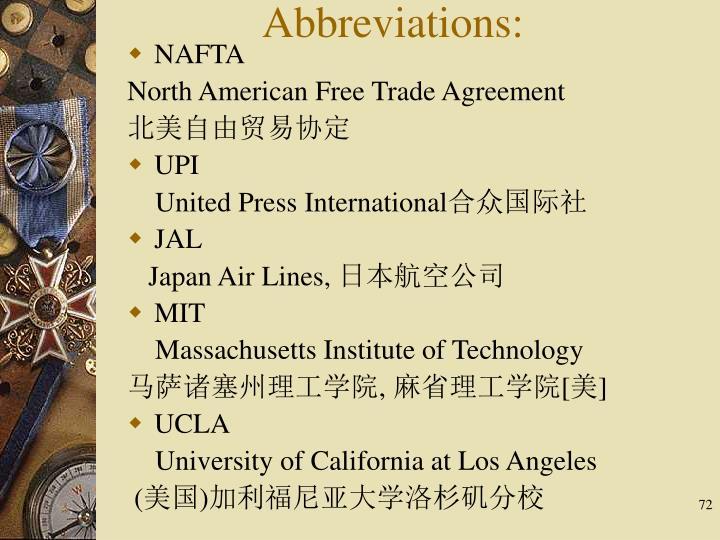 Abbreviations: