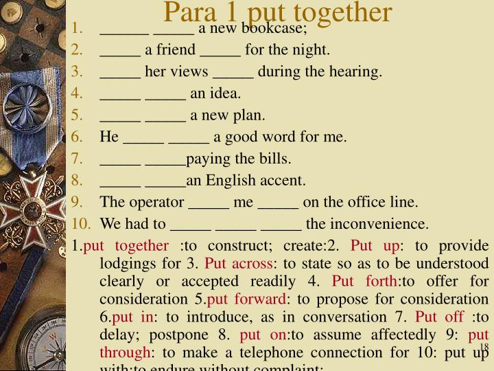 Para 1 put together