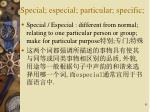 special especial particular specific