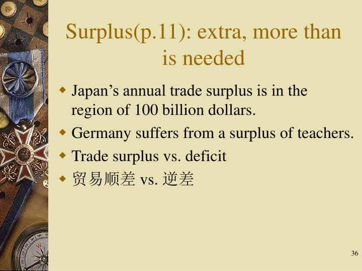 Surplus(p.11): extra, more than is needed