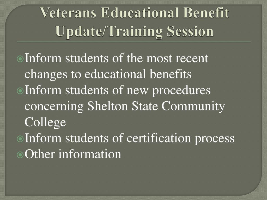 veterans educational benefit update training session