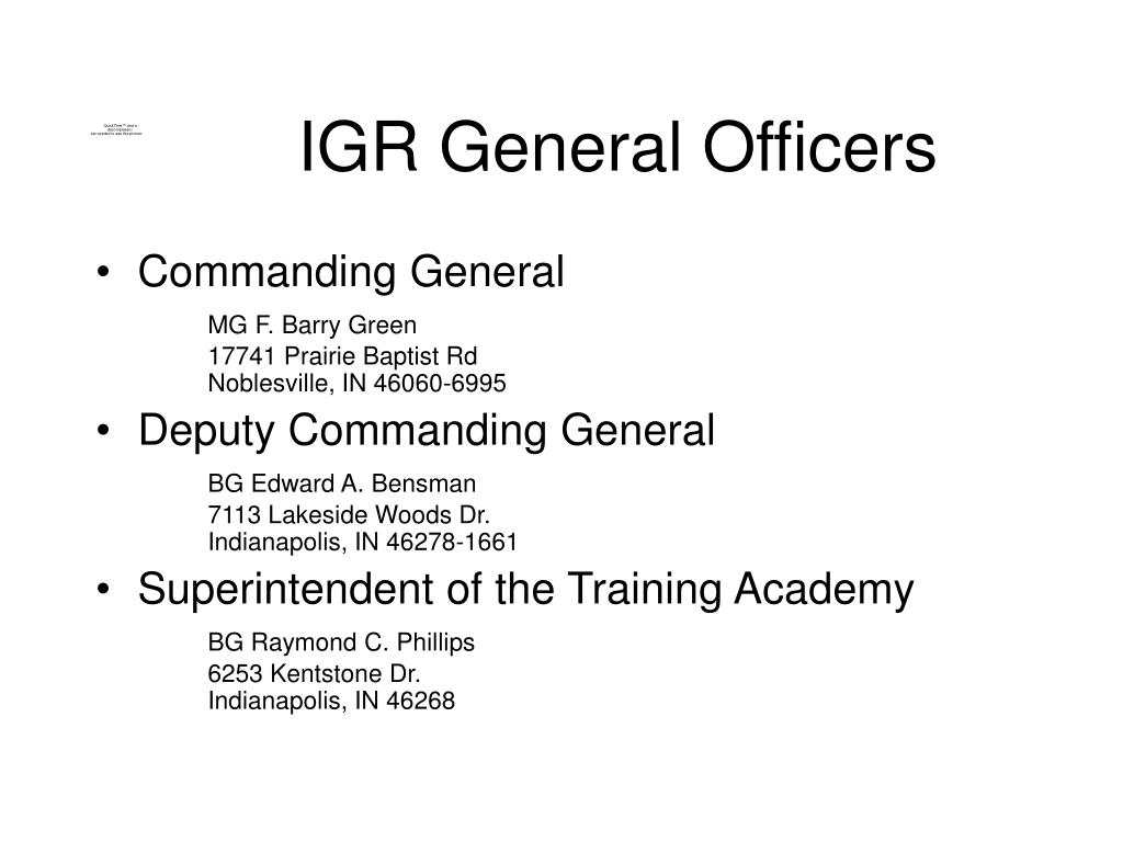 IGR General Officers