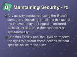 maintaining security 3