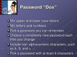password dos