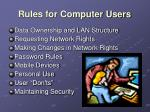 rules for computer users