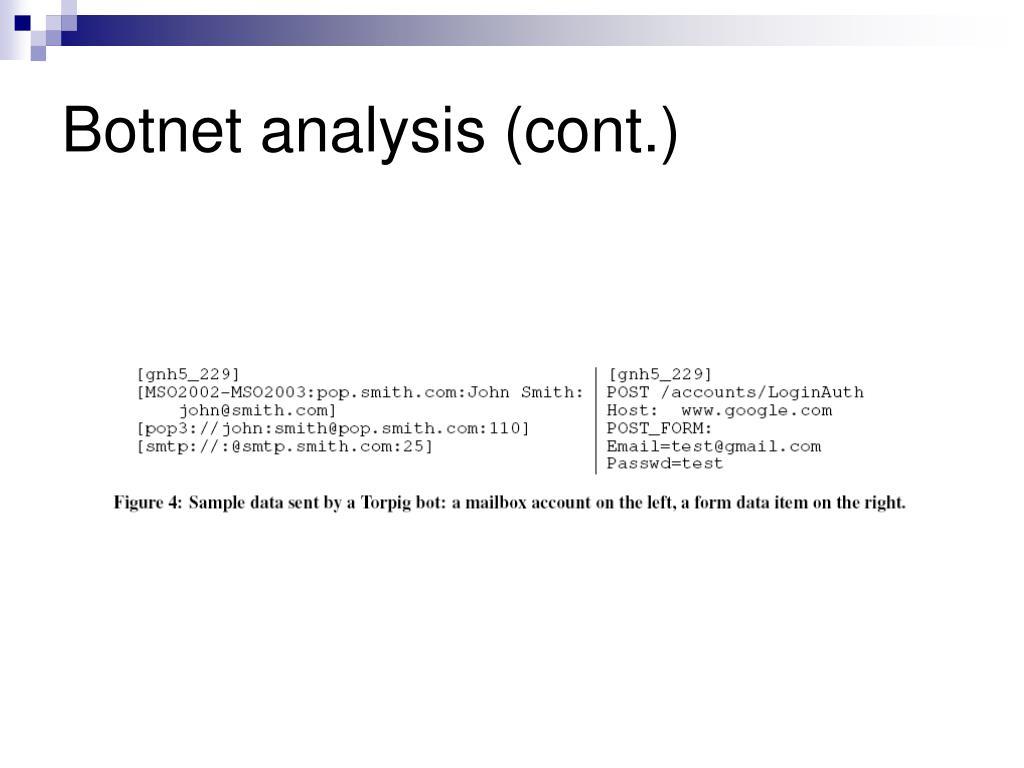 Botnet analysis (cont.)