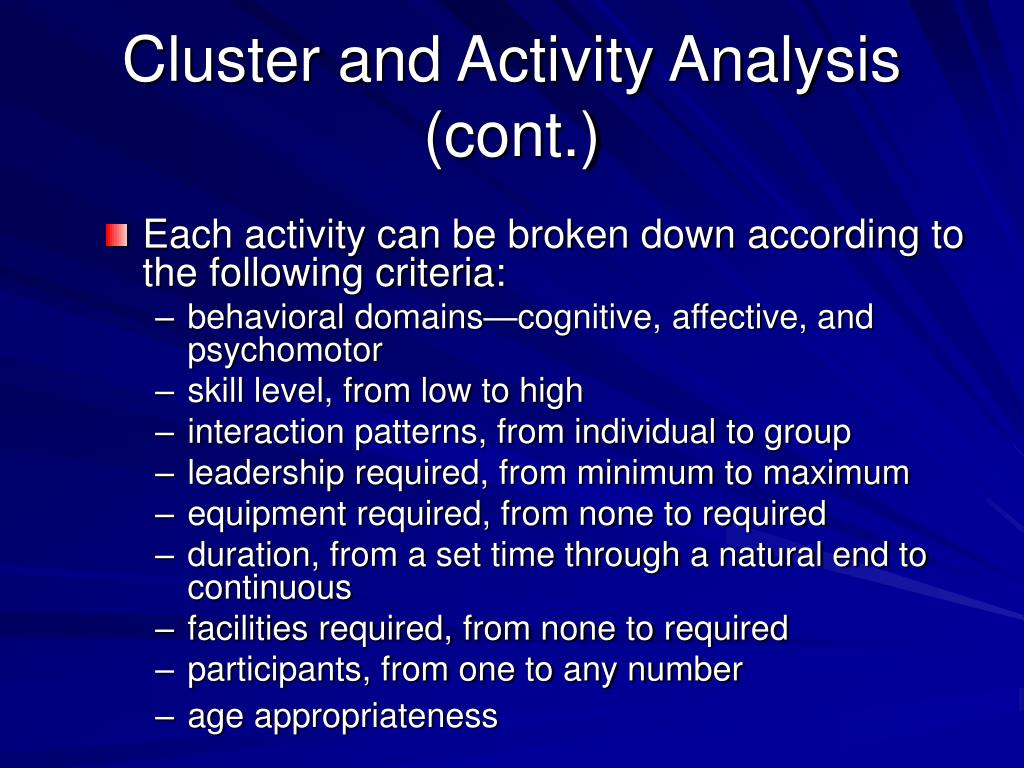 Cluster and Activity Analysis (cont.)