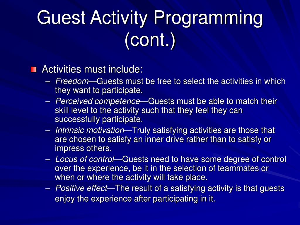 Guest Activity Programming (cont.)