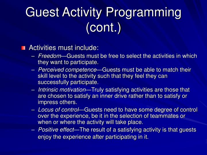 Guest activity programming cont