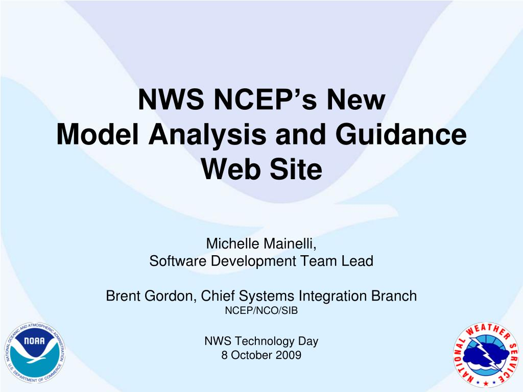 nws ncep s new model analysis and guidance web site