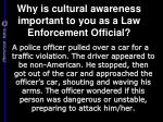 why is cultural awareness important to you as a law enforcement official