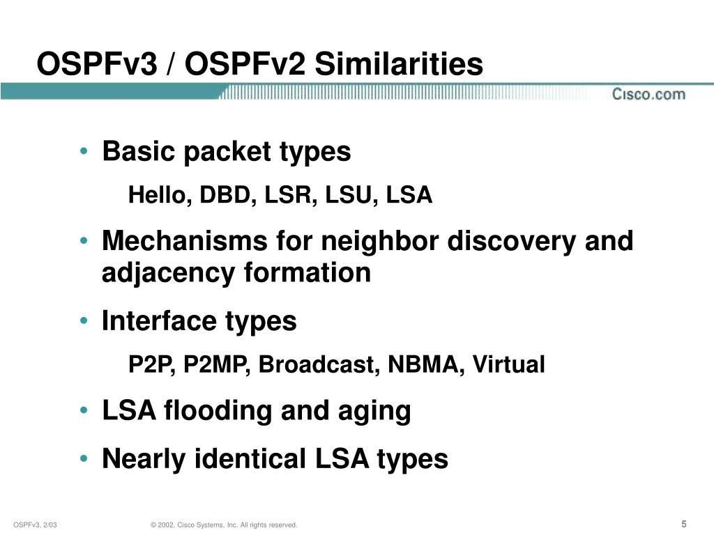 OSPFv3 / OSPFv2 Similarities
