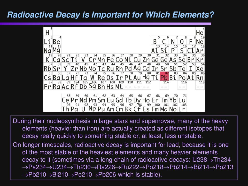 Radioactive Decay is Important for Which Elements?