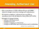 amending authorized use