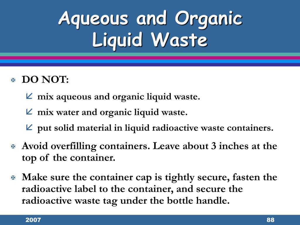 Aqueous and Organic