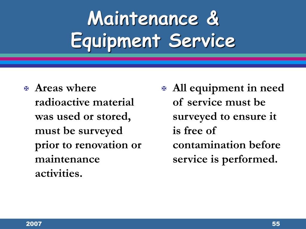 Areas where radioactive material was used or stored, must be surveyed prior to renovation or maintenance activities.