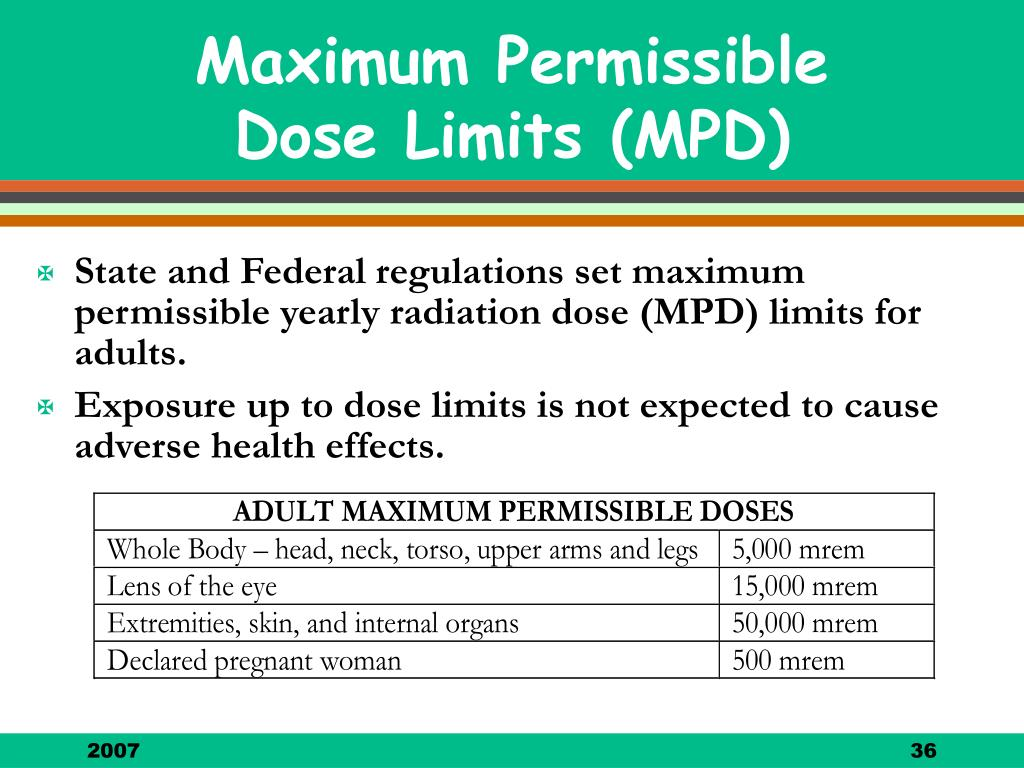 State and Federal regulations set maximum permissible yearly radiation dose (MPD) limits for adults.