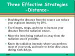three effective strategies distance