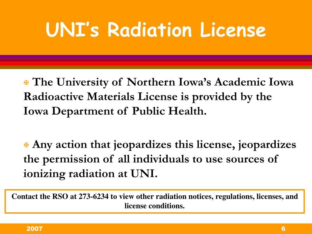 UNI's Radiation License