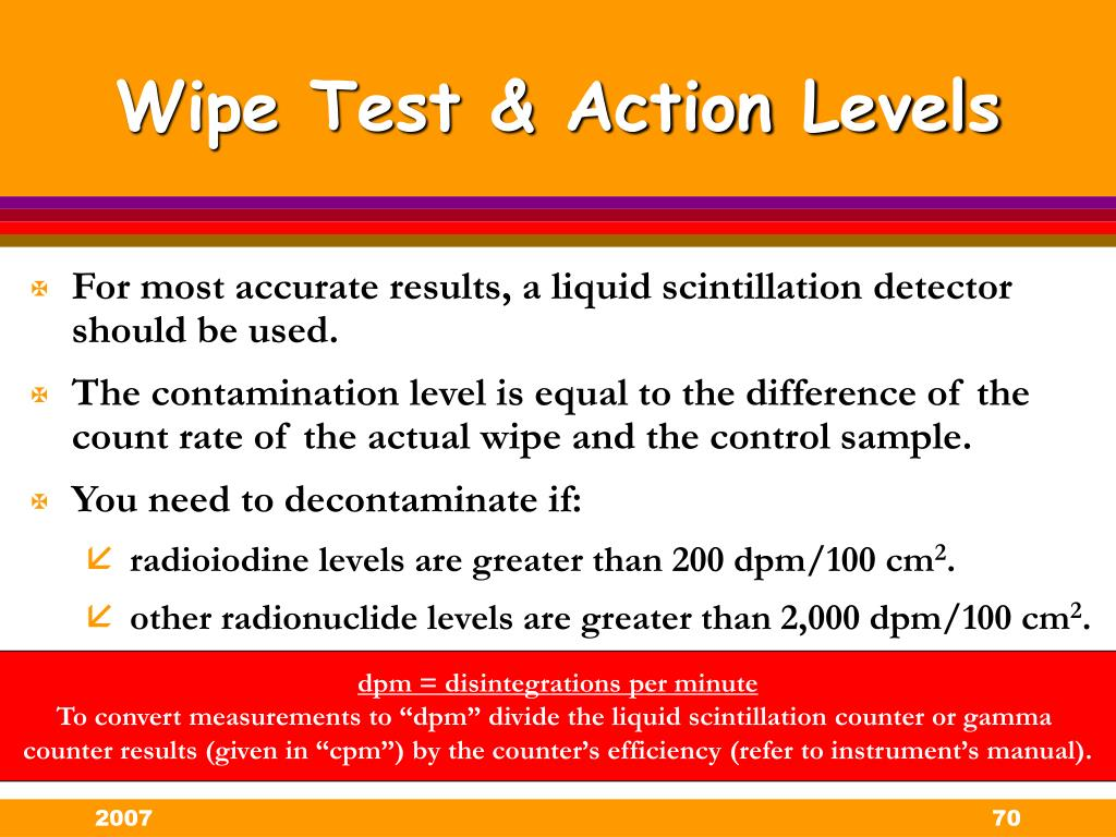Wipe Test & Action Levels