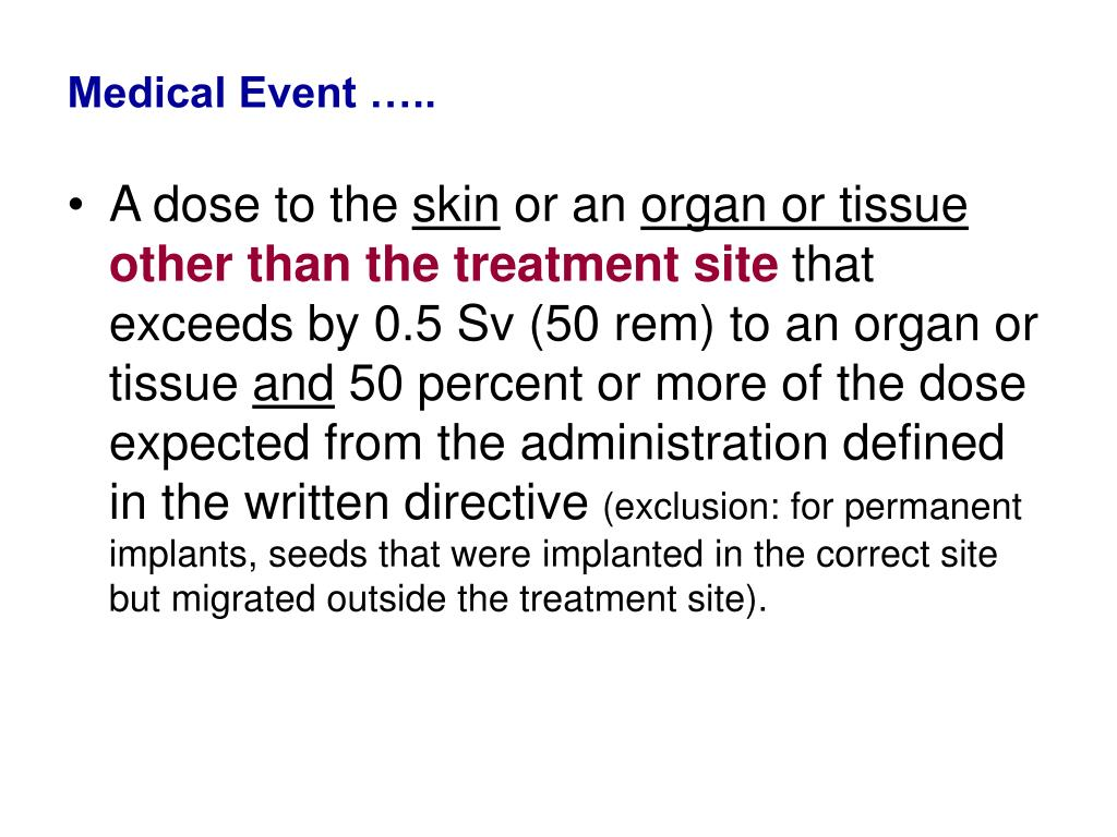 Medical Event …..