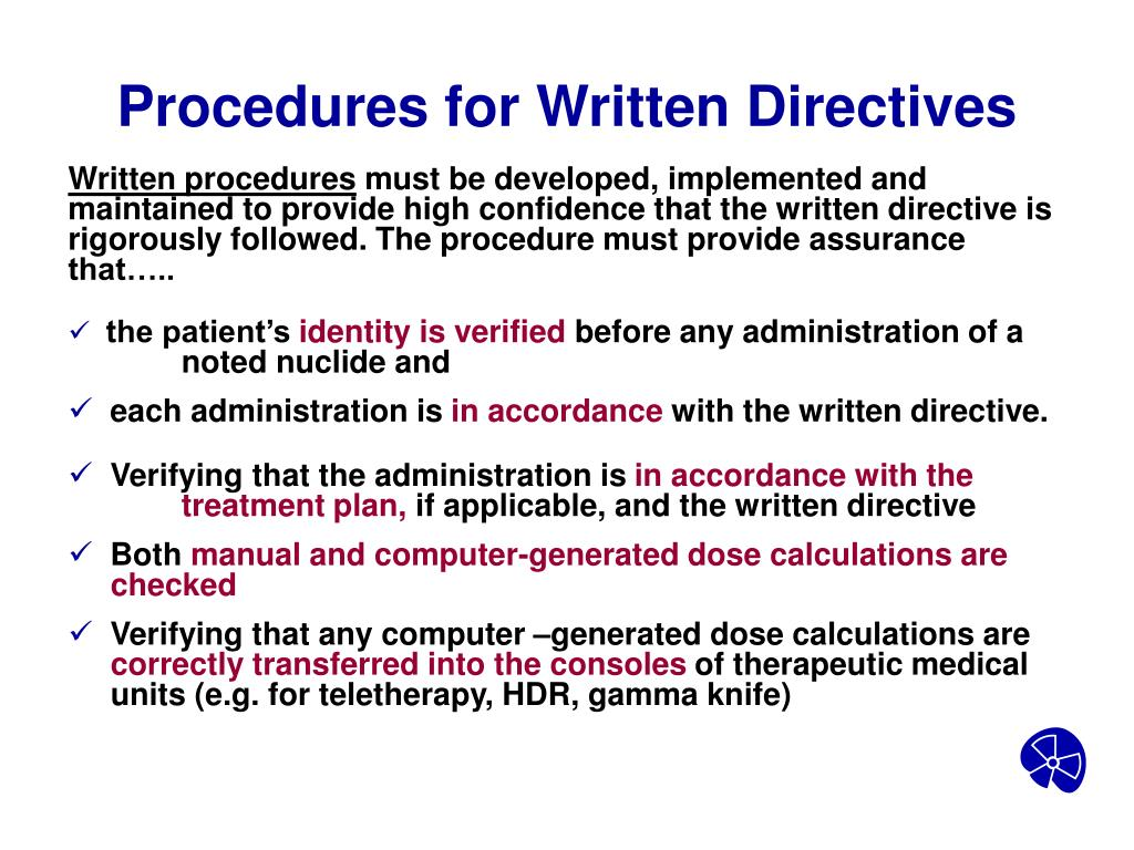 Procedures for Written Directives