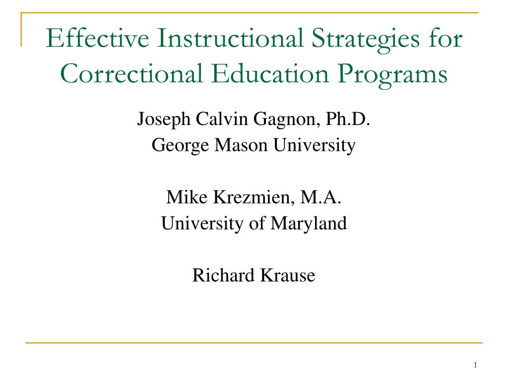 effective instructional strategies for correctional education programs