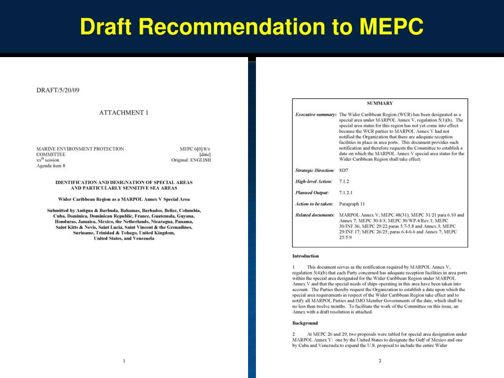Draft Recommendation to MEPC