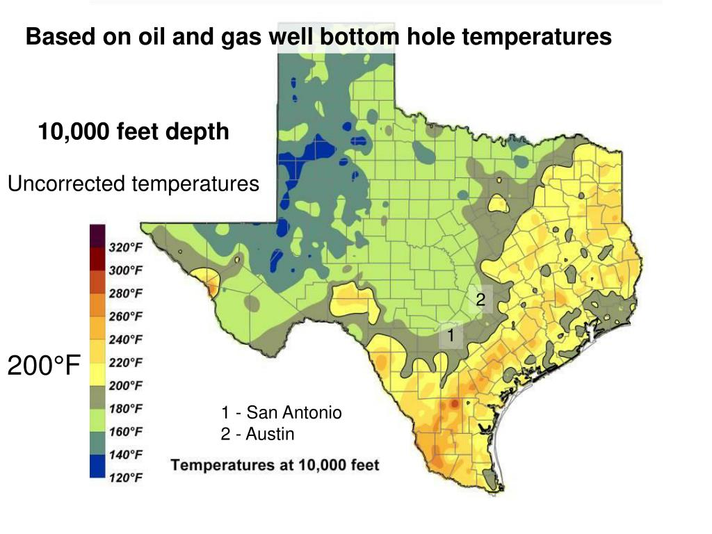 Based on oil and gas well bottom hole temperatures