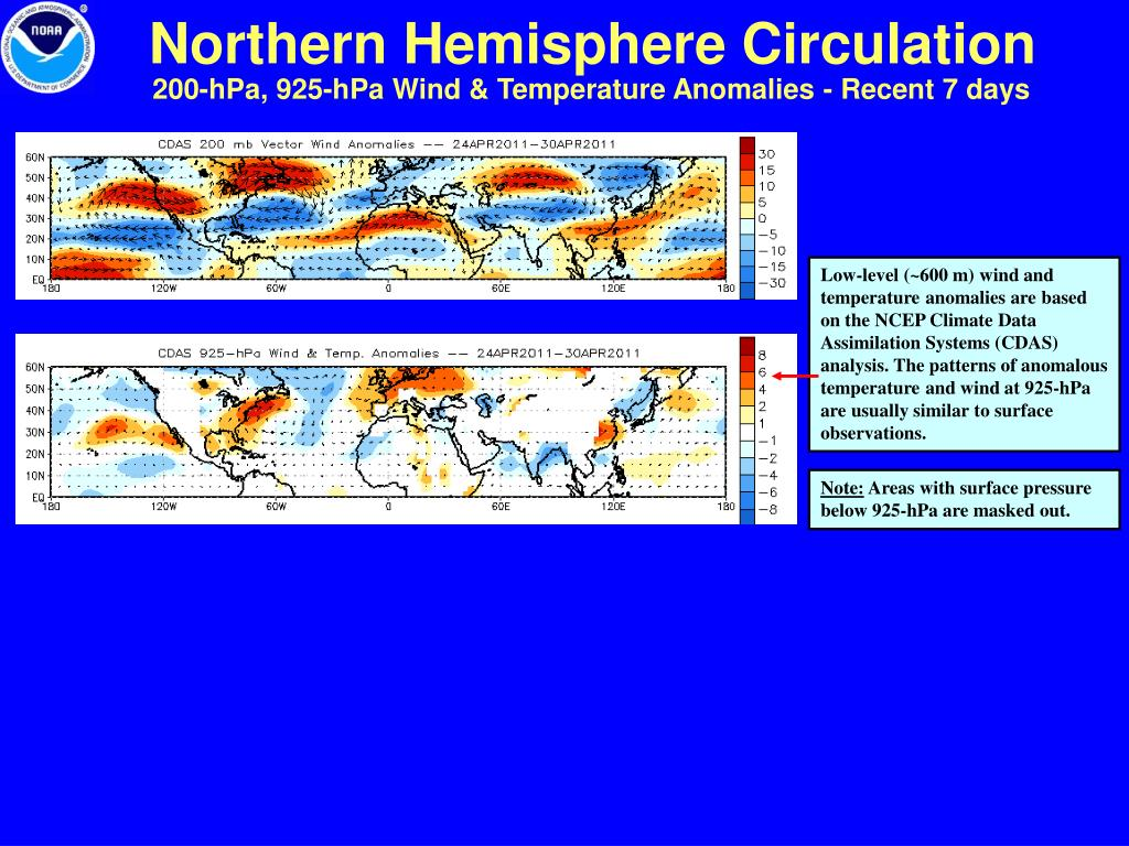 200-hPa, 925-hPa Wind & Temperature Anomalies