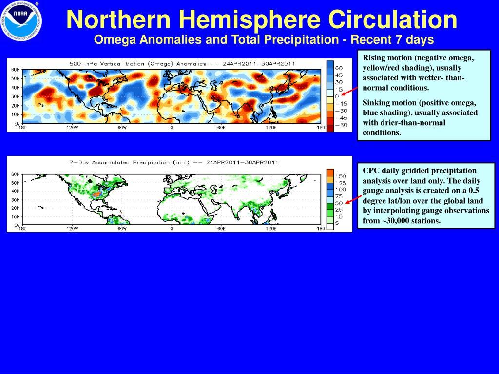 Omega Anomalies and Total Precipitation - Recent 7 days