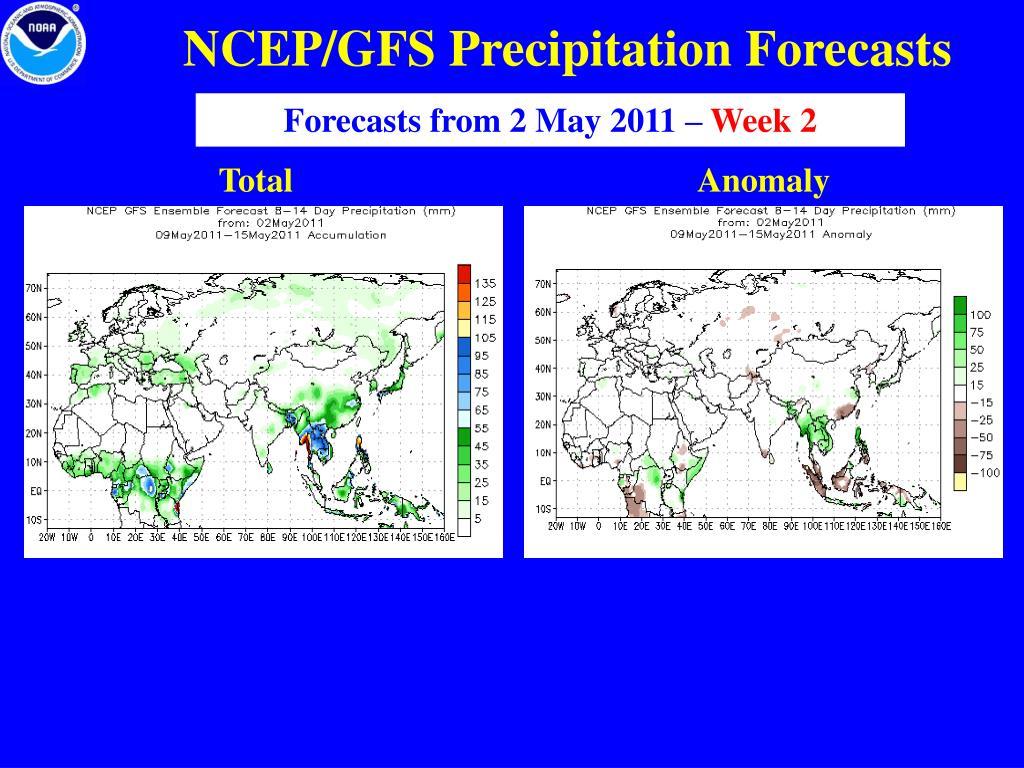 NCEP/GFS Precipitation Forecasts