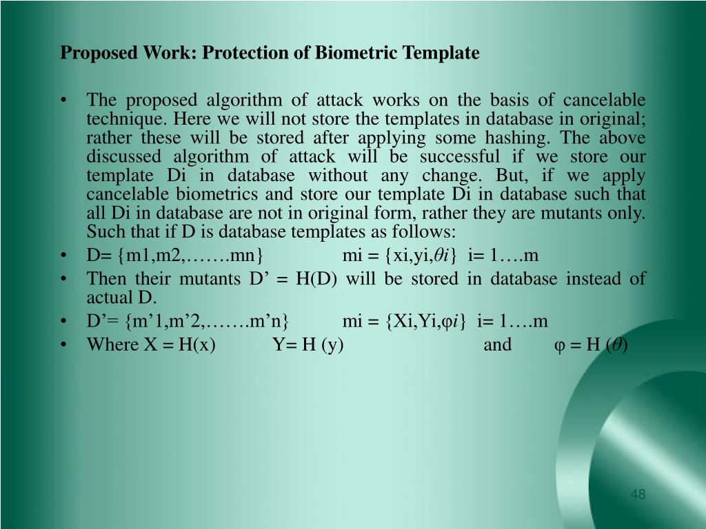 Proposed Work: Protection of Biometric Template