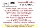 a special thanks to all our staff