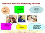 feedback from those receiving vaccines