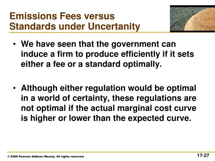 Emissions Fees versus Standards under Uncertanity