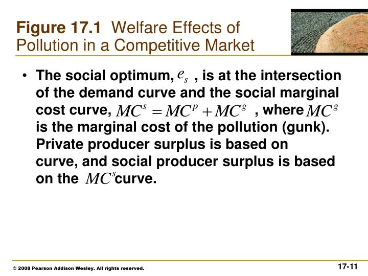 The social optimum,     , is at the intersection of the demand curve and the social marginal cost curve,                                    , where         is the marginal cost of the pollution (gunk). Private producer surplus is based on      curve, and social producer surplus is based on the         curve.